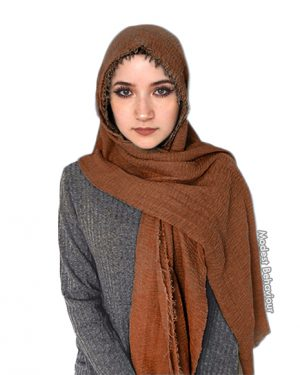 Chestnut Brown Crinkle Hijab