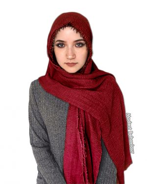 Rose Red Crinkle Hijab