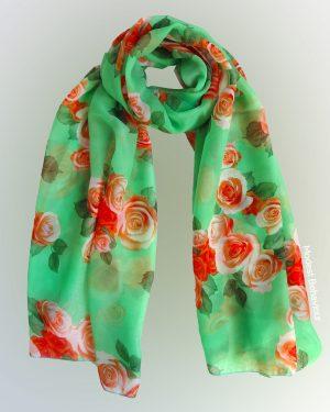 Floral Green Chiffon Hijab