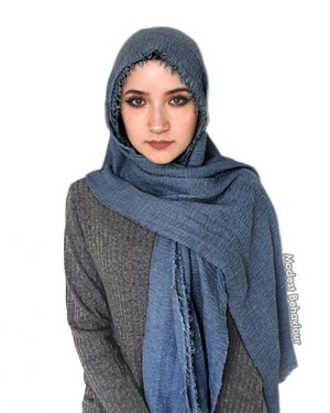 Denim Blue Crinkled Hijab