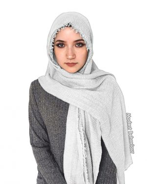White Snow Crinkled Hijab