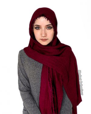 Burgundy Crinkled Hijab