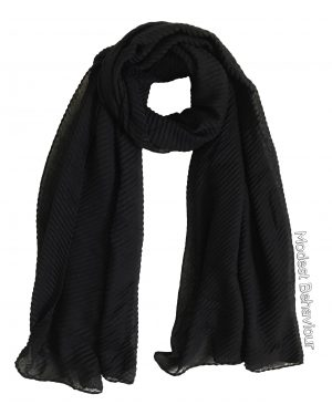 Black Rippled Hijab