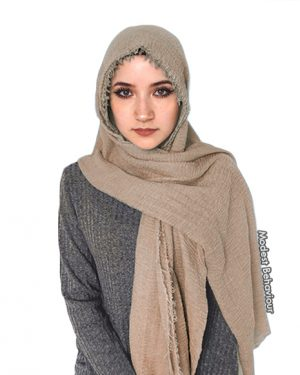 Khaki Brown Crinkled Hijab