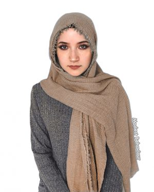 Khaki Brown Crinkle Hijab