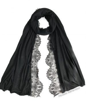 Black Jersey Lace Hijab