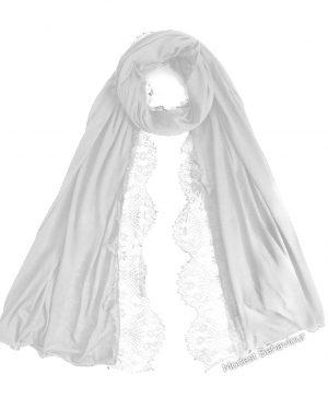 White Jersey Lace Hijab