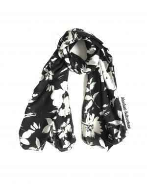 Black/White Floral Chiffon Hijab