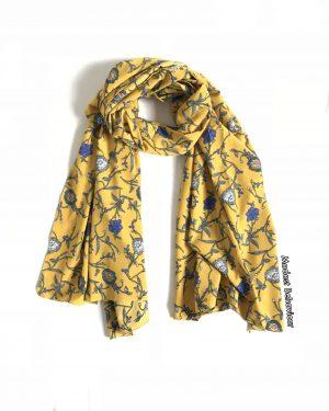 Mustard Floral Jersey/Chiffon Hijab