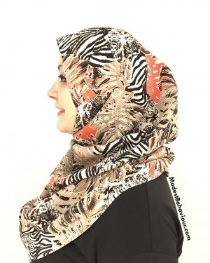 Crinkled Wild Pattern One Piece Hijab