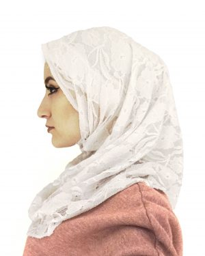 White Lace One Piece Hijab