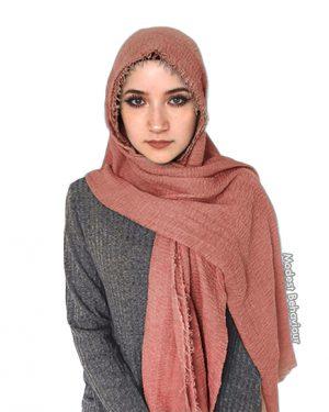 Rose Gold Crinkled Hijab