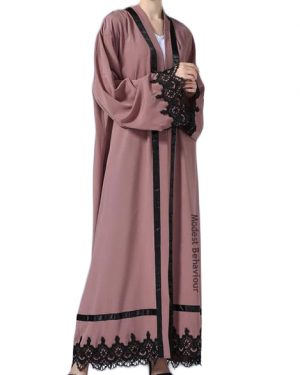 Dusty Rose Lace Abaya