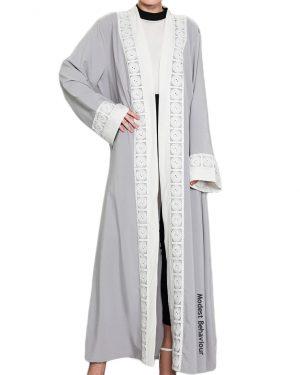 Silver Lace Abaya