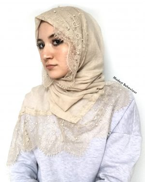 Beige Hijab With Lace And Pearls
