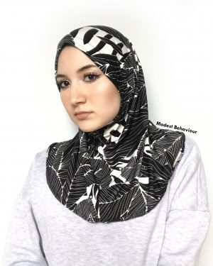 Designer Black and White Pattern One Piece Hijab