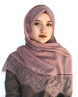 Dusty Rose Hijab With Lace And Pearls