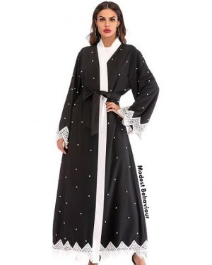 Abaya With Lace Embroidery and Pearls