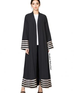 Black Abaya With Stripes