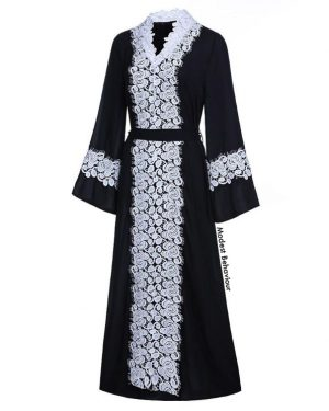 Black Abaya With White Lace Trim
