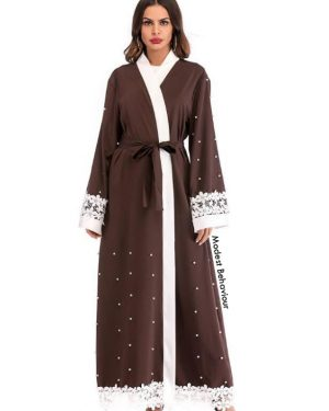 Brown Abaya With Pearls