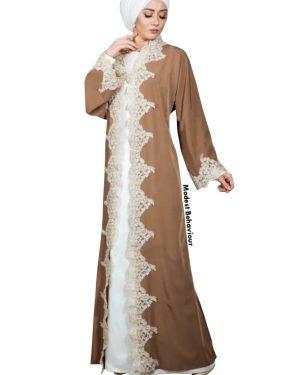 Caramel Mauve Lace Abaya