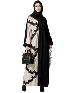 Duotone Black Ivory Lace Abaya