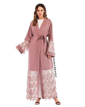 Dusty Rose Sequins Embroidery Abaya