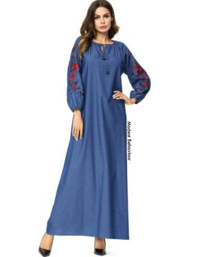 Embroidered Denim Abaya Dress