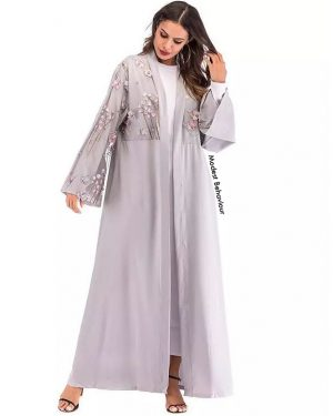 Embroidered Flower Abaya