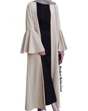 Flared Sleeved Open Abaya Cardigan