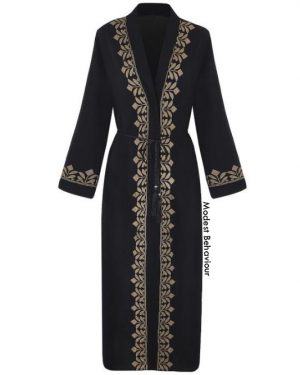 Gold Trimmed Black Abaya