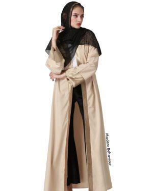 Khaki Gold Open Abaya