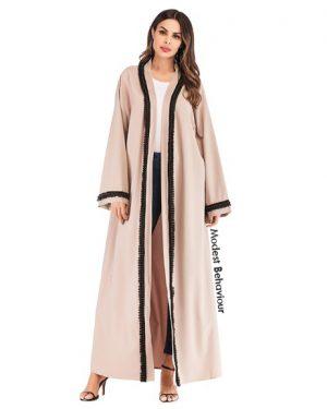 Khaki Trimmed Abaya