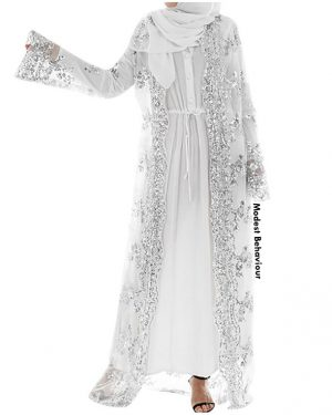 Lace Sequins Open Abaya Cardigan