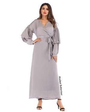 Double Lantern Sleeved Maxi Dress