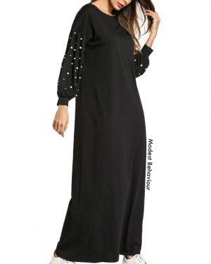 Lantern Sleeves Maxi Dress With Pearls