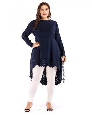 Navy Laser Cut Long Top