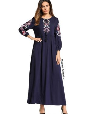 Navy Embroidered Abaya Dress
