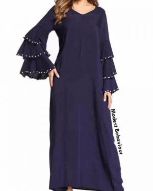 Navy Triple Flared Sleeved Maxi Dress With Pearls
