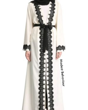 Open Abaya With Black Trim