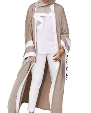 Open Abaya With White Frame + Hijab