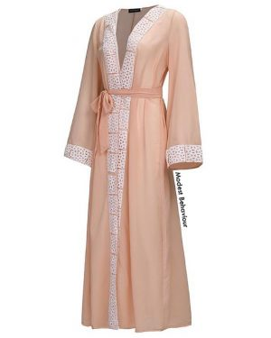 Peach Abaya With White Trim