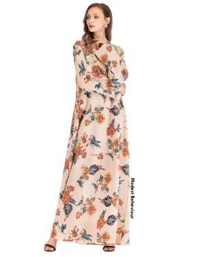Peach Floral Maxi Dress