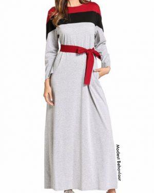 Red Black Silver Maxi Dress