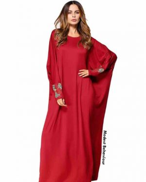 Red Embroidered Cuff Abaya