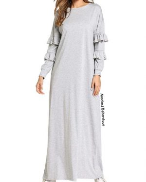 Ruffled Sleeve Maxi Dress With Pearls