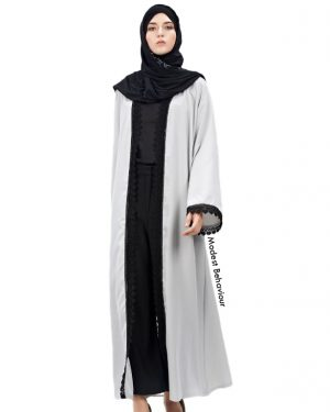 Silver Black Trimmed Open Lace Abaya