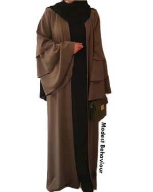 Triple Flared Sleeved Open Abaya Cardigan