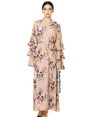 Triple Flared Sleeved Floral Dress
